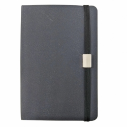 notebook with elastic band and plaque
